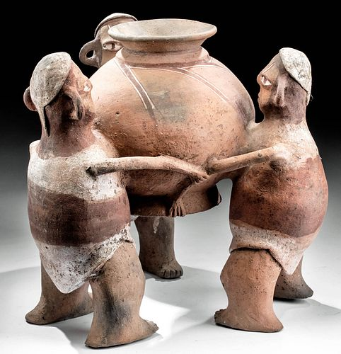 Rare Cajamarca Polychrome Olla, 3 Figures (Chicha) TL'd