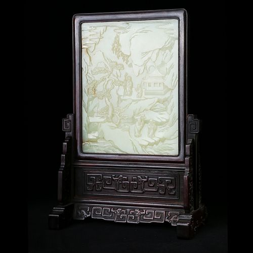 A WHITE JADE 'LANDSCAPE AND FIGURES' TABLE SCREEN