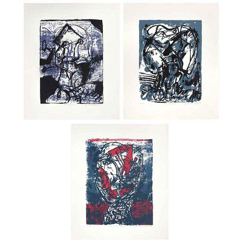 GILBERTO ACEVES NAVARRO, Cabeza 1, 3 y 5, Firmadas y fechadas 73, Serigrafías 22 / 100, 35 x 29 cm | GILBERTO ACEVES NAVARRO, Cabeza 1, 3 y 5, Signed