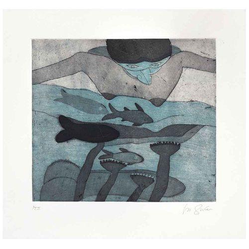 ROGER VON GUNTEN, Mujer mirando al mar, Firmado, Grabado al aguatinta y al aguafuerte P. I. II, 26 x 29 cm | ROGER VON GUNTEN, Mujer mirando al mar, S