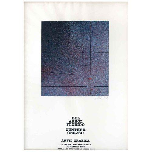 GUNTHER GERZSO, Cartel de presentación de la carpeta Del árbol florido, 1980, Firmada y fechada, Serigrafía s/n de tiraje, 30 x 30 cm | GUNTHER GERZSO