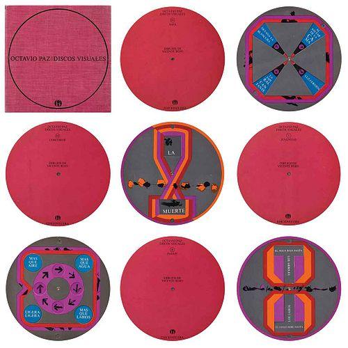OCTAVIO PAZ/VICENTE ROJO, Discos Visuales, 1968, Serigrafías, 26 x 26 cm medidas totales c/estuche , Piezas: 4 | OCTAVIO PAZ/VICENTE ROJO, Discos Visu