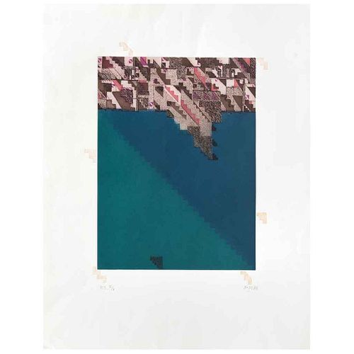 VICENTE ROJO, La Greca, Firmado y fechado 88, Grabado y gofrado P. I. II / II, 39 x 29 cm | VICENTE ROJO, La Greca, Signed and dated 88, Engraving and