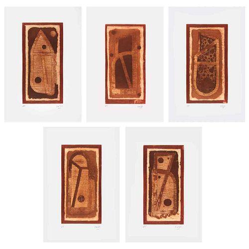 VICENTE ROJO, Juego de letras, Firmados, Grabados al azúcar y aguatinta P. T., 35 x 23 cm medidas totales, Piezas: 5 | VICENTE ROJO, Juego de letras,