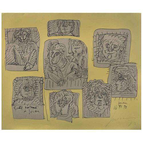 JOSÉ LUIS CUEVAS, Autorretratos en Londres, Firmada y fechada 72, Serigrafía y collage s/n de tiraje, 50 x 60 cm | JOSÉ LUIS CUEVAS, Autorretratos en