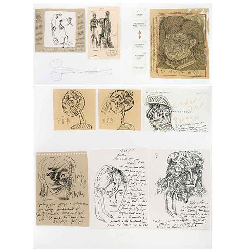 JOSÉ LUIS CUEVAS, Le Marques de Sade, 1976, Firmada, Serigrafía y collage sin número de tiraje, 31.4 x 68.3 cm anverso y reverso | JOSÉ LUIS CUEVAS, L