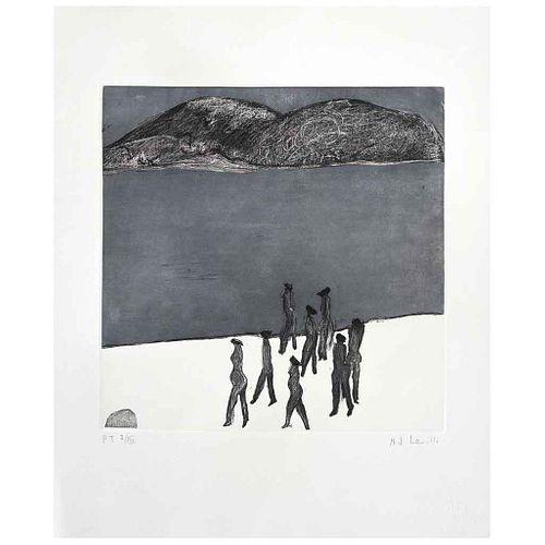 JOY LAVILLE , Ocho mujeres en la playa, Firmado, Grabado al aguatinta y aguafuerte P/T I/III, 29 x 29 cm | JOY LAVILLE , Ocho mujeres en la playa, Sig