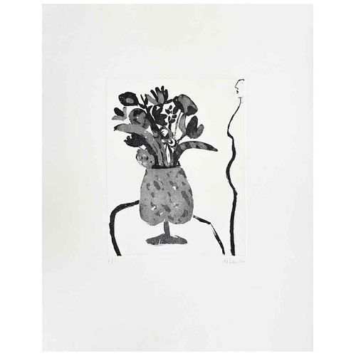 JOY LAVILLE, Flowers and dark sea, Firmado, Grabado al aguafuerte y ruleta P / I, 25 x 20 cm | JOY LAVILLE, Flowers and dark sea, Signed, Etching and