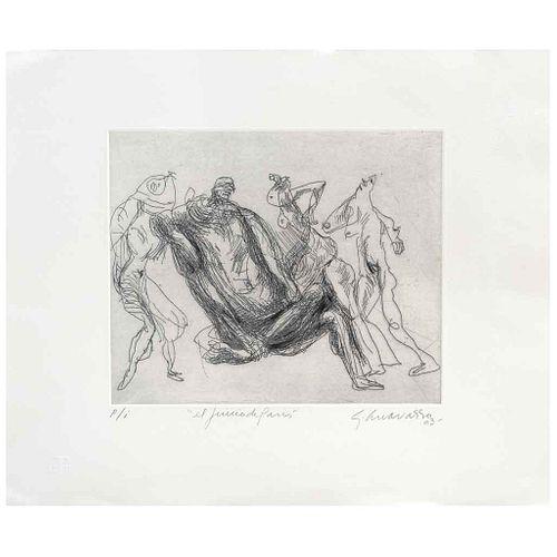GILBERTO ACEVES NAVARRO, El juicio de París, Firmado y fechado 03, Grabado al aguafuerte y aguatinta P/I, 25.5 x 30 cm | GILBERTO ACEVES NAVARRO, El j