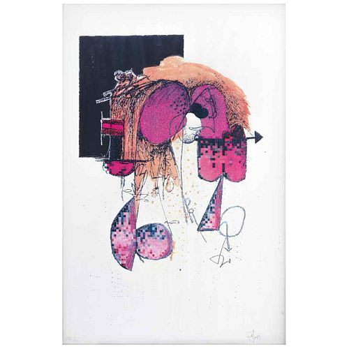"MANUEL FELGUÉREZ, Abstracto, Firmado, Grabado 27 / 75, 42 x 28 cm | MANUEL FELGUÉREZ, Abstracto, Signed, Engraving 27 / 75, 16.5 x 11"" (42 x 28 cm)"