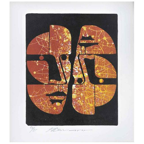 """GUILLERMO CENICEROS, Sin título, Firmada Litografía 82 / 85, 32 x 26 cm 