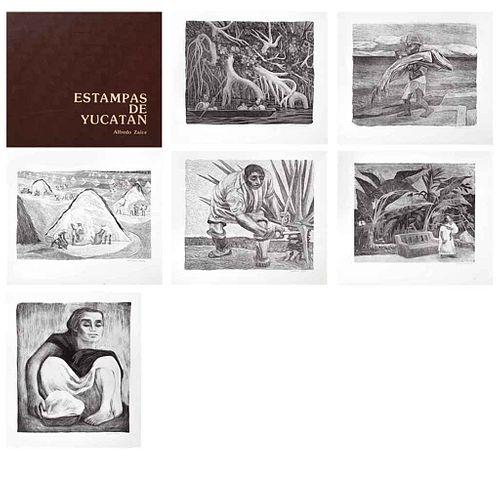 ALFREDO ZALCE, Estampas de Yucatán, 1978, Firmadas, Láminas s/n de tiraje, 33 x 28 cm c/u, 41 x 37 cm medidas de la carpeta   ALFREDO ZALCE, Estampas