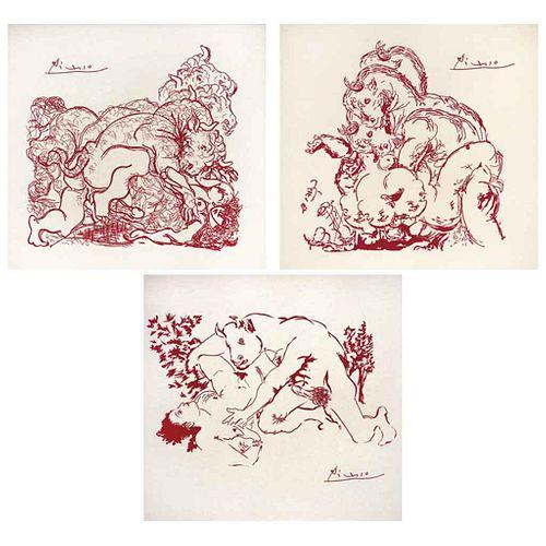 PABLO PICASSO, Serie Minotauro, 1947, Firmadas, Serigrafías I, II, III, 30 x 30 cm c/u
