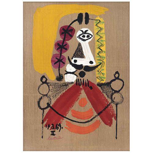 PABLO PICASSO, De la carpeta Portraits Imaginaires, 1969, Firmada y fechada 14-3-69, Litografia H 83/250, 61 x 44 cm