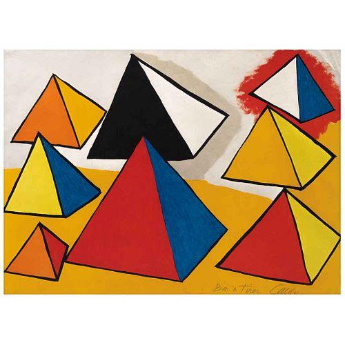 ALEXANDER CALDER, Composition IX, de la serie Elementary Memory, 1976, Firmada, Litografía papel japonés bon a tier, 51 x 71 cm