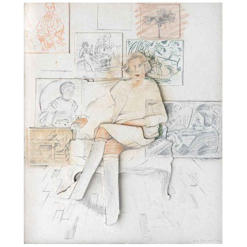 LARRY RIVERS, Drawn from the collection, 1984, Firmada, Litografía y collage sobre papel hecho a mano H. C. 10 / 10, 100 x 83 cm
