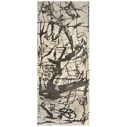 ALEJANDRO SANTIAGO, Sin título, Sin firma Xilografría entelada s/n, 240 x 100 cm