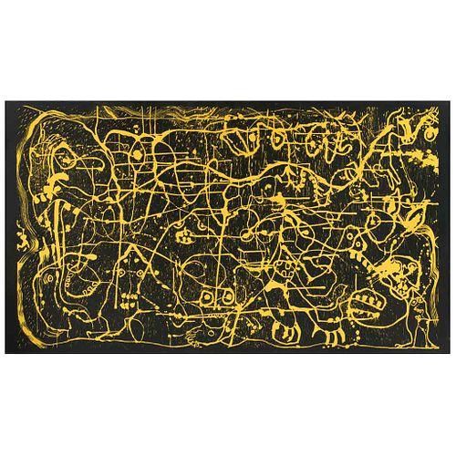 SERGIO HERNÁNDEZ, Sin título, Firmada Xilografía entelada 19 / 30, 120 x 210 cm