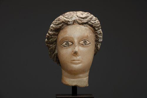 Ancient South Arabian Alabaster Head of a Woman Ca. 200 B.C.-200 A.D.