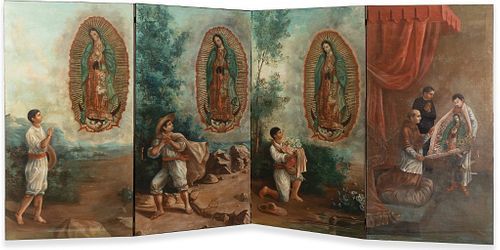 Spanish Colonial, Mexico, The Four Apparitions of Guadalupe, Late 18th Century