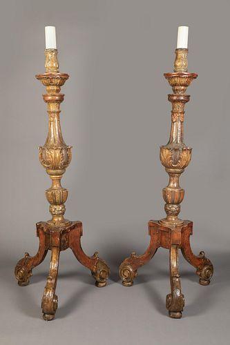 Spanish Colonial, Peru, Pair of Large Blandones Candlesticks, 18th Century