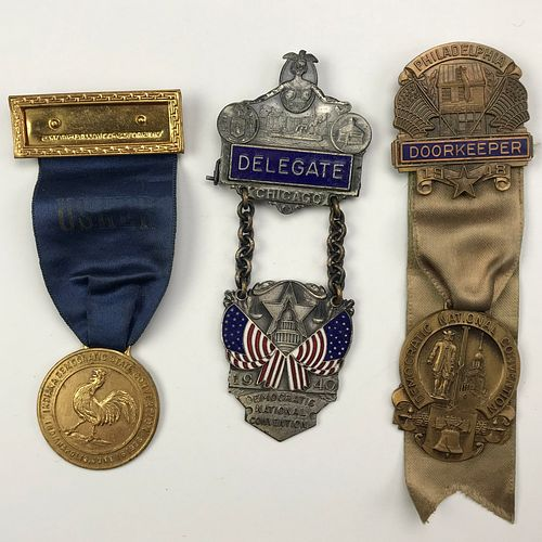 Group of 7 1936-1948 Democratic Convention Delegate , Press etc. Ribbons and Pins