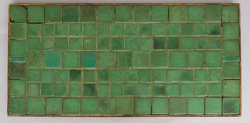 Large Matte Green Grueby Attr. Tile Tabletop