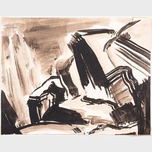 Murray Hantman (1904-1999): Monhegan Harbor; Composition; and Sumi Ink: Three Works