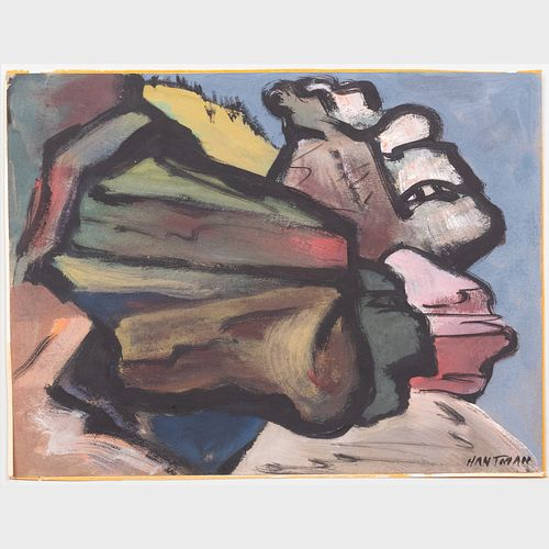 Murray Hantman (1904-1999): Rocks and Sea; Family Group; Masquerade; and Untitled