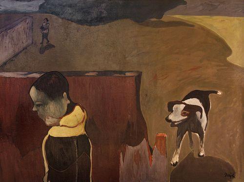 JUAN BARJOLA (Torre de Miguel Sesmero, Badajoz, 1919 - Madrid, 2004). Untitled. Oil on canvas.