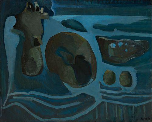 """FRANCISCO BORES LÓPEZ (Madrid, 1898- Paris, 1972). """"Nature morte et bleu composition/ composition in blue"""", 1960. Oil on canvas."""