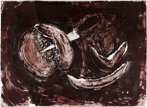 """MIQUEL BARCELÓ ARTIGUES (Felanitx, Mallorca, 1957). """"Still life"""". Mixed media on paper."""