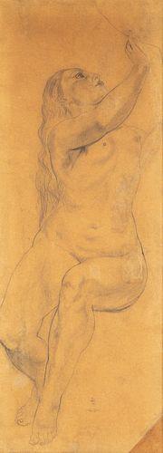 "LÉONARD TSUGUHARU FOUJITA (Tokyo, 1886 - Zurich, 1968). ""Femme nue assise, tete et bras droite levée"", 1924. Preparatory drawing for the canvas ""L'Ami"