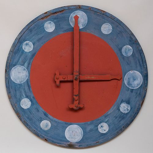 American Red, White and Blue Painted Metal Wall Clock Face