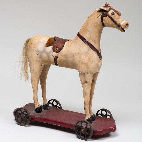 Painted Wood and Leather Horse Pull Toy