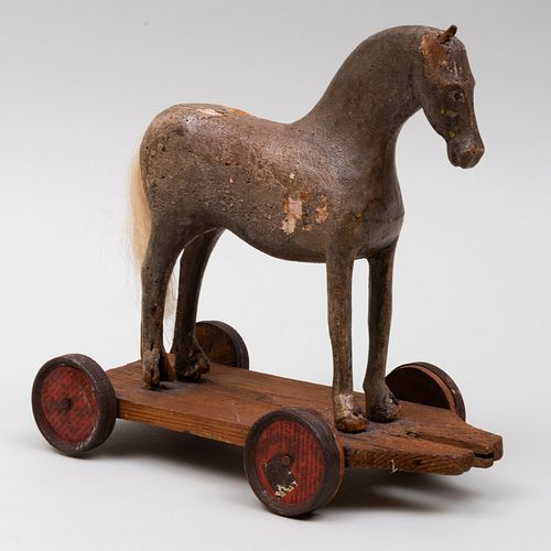 American Grey Painted Pine Horse Pull Toy