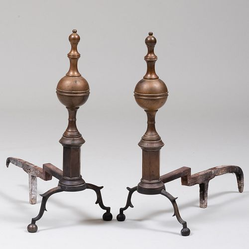 Pair of Federal Brass Andirons, New York, Signed R. Wittingham