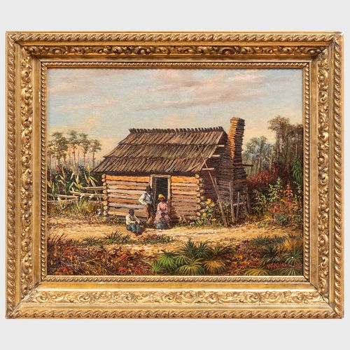 Attributed to William Aiken Walker (1838-1921): Log  Cabin Scene