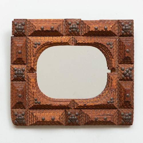 Tramp Art Brass and Wood Mirror