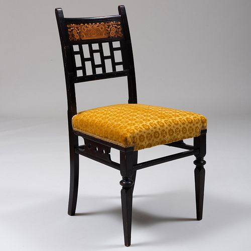 Fine Aesthetic Movement Ebonized, Parcel-Gilt and Various Woods Marquetry Side Chair, Herter Brothers