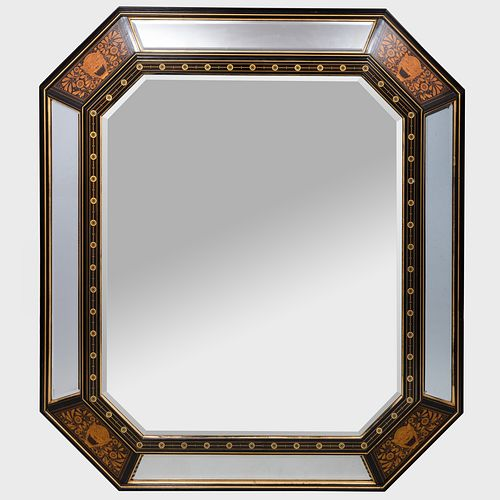 Fine and Large Aesthetic Movement Ebony, Bone and Various Woods Marquetry and Parcel-Gilt Mirror, Herter Brothers