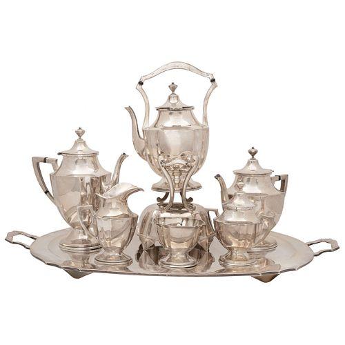 JUEGO DE TÉ Y CAFÉ Plata Sterling Ley 0.925 Diseño gallonado Consta de: charola,tetera,cafetera,samovar,azucarera,cremera y terronera | TEA AND COFFEE