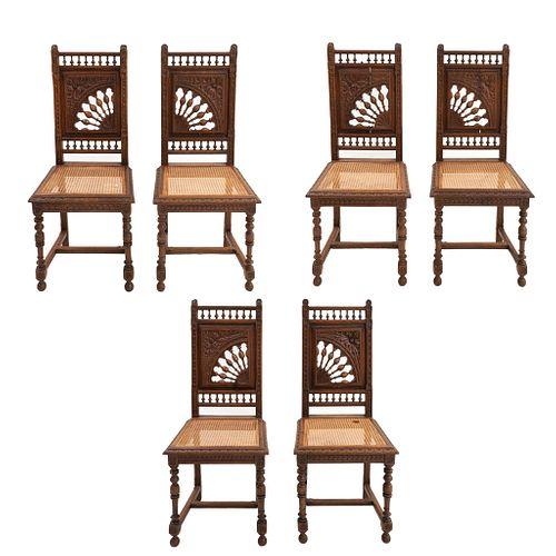 LOTE DE 6 SILLAS. FRANCIA, SXX. Estilo BRETÓN. Elaboradas en madera de roble. Con respaldos semiabiertos, asientos de bejuco. | LOT OF 6 CHAIRS. FRANC