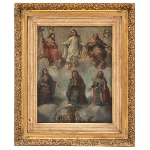 ANÓNIMO MÉXICO, SIGLO XVIII ALEGORÍA DE LA CONCEPCIÓN DE MARÍA Óleo sobre lámina de cobre 60 x 46 cm | ANONYMOUS MEXICO, 18th CENTURY ALEGORÍA DE LA C