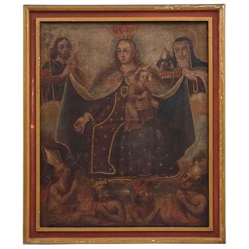 VIRGEN DEL CARMEN CON SAN JOSÉ Y SANTA TERESA MÉXICO, SIGLO XVIII Óleo sobre tela  Detalles de conservación. Repintes 70 x 65 cm | VIRGEN DEL CARMEN C