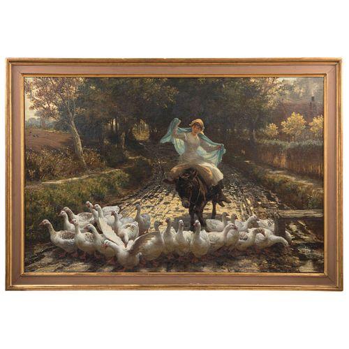 PHILIP RICHARD MORRIS INGLATERRA 1836-1902 LA FIESTA DE SAN MIGUEL (MICHAELMAS) Óleo sobre tela  90 x 140 cm | PHILIP RICHARD MORRIS ENGLAND 1836-1902