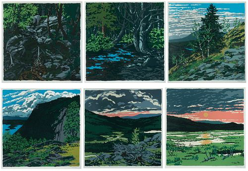 """Neil Welliver - Landscapes: A Portfolio of Six Works, 1973: 1] """"Briggs Meadow"""" 2] """"Greer's Bog"""" 3] """"Spring Freshet"""" 4] """"Duck Trap"""" 5] """"Si's Hill"""" 6] """""""