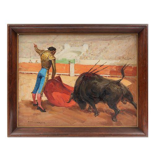 ANTONIO NAVARRETE. Torero. Firmado. Óleo sobre tela. 50 x 65 cm. Enmarcado. Detalles de conservación.