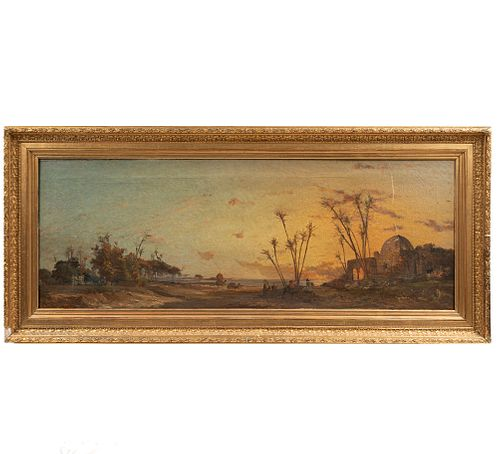 FIRMA ILEGIBLE.  Paisaje.  Escuela europea del SXIX. Óleo sobre tela. Enmarcada. 50 x 135 cm.