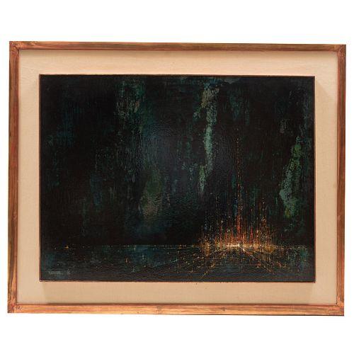 LEONARDO NIERMAN (Ciudad de México, 1932 - ) Sin título Firmado Acrílico sobre masonite. Enmarcado. 60 x 80 cm